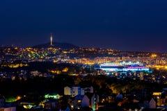 Belgrade panorama vid natt Arkivbilder