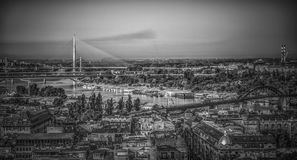 Belgrade panorama. A view of Belgrade in black and white Royalty Free Stock Photo
