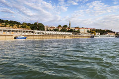 Belgrade Panorama Viewed From Sava River Perspective. Panorama of Belgrade, Serbia, viewed from Sava river perspective, with Kalemegdan park, St. Michael's Royalty Free Stock Photography