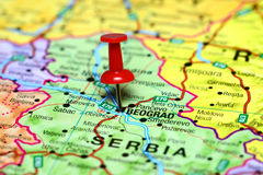 Belgrade pinned on a map of europe Royalty Free Stock Images