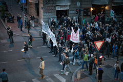 Belgrade Protests April 2017, Serbia. 17.04.2017. People walking the streets in protests against the government and prime minister Vučić in Belgrade, Serbia Stock Image