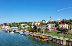 Belgrade from river Sava Royalty Free Stock Images