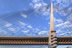 Suspension Bridge Over Ada Pylon Detail. Belgrades Suspension Bridge Over Ada - stairways and pylon detail Stock Images