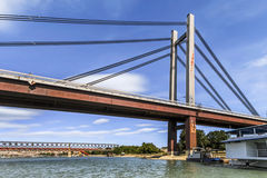 Belgrade's New Railway Suspension Bridge on Sava River - Serbia Stock Image