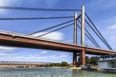 Belgrade's New Railway Suspension Bridge on Sava River - Serbia. Belgrade's New railroad bridge over  Sava river, with details of bridge lower girder Stock Image