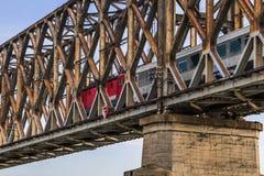 Belgrade's Old Railway Truss Bridge On Sava River - Serbia. Belgrade's Old railway bridge over Sava river, with details of bridge stone base, old rusty Stock Image