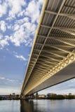 Belgrade's Suspension Bridge Over Ada Main Span With Its Construction Girder Framework – Detail. Suspension Bridge Over Ada – the main construction Royalty Free Stock Photos