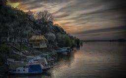 Boats on Danube in Zemun royalty free stock photo