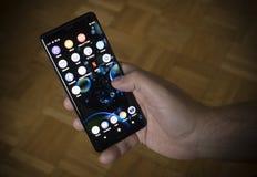 Belgrade, Serbia – October 20th 2018: The Sony Xperia XZ3 Smartphone. The new Sony Xperia XZ3 smartphone in a mans hand royalty free stock photos