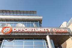Logo of Opportunity Bank on their local headquarters for Serbia. Opportunity International is an NGo specialized in micro loans Royalty Free Stock Images