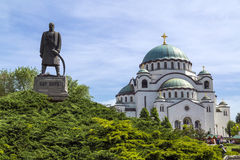 Belgrade, Serbia. April 18, 2016: The Serbian Orthodox Christian Church of St Sava built where remains of founder of the Serb Orthodox Church -Saint Sava Royalty Free Stock Photos