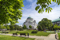 Belgrade, Serbia. April 18, 2016: The Serbian Orthodox Christian Church of St Sava built where remains of founder of the Serb Orthodox Church -Saint Sava Royalty Free Stock Image