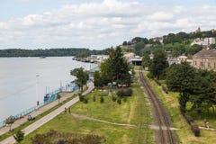 Belgrade cityscape from the Sava river, Serbia royalty free stock photography