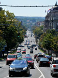 BELGRADE, SERBIA - AUGUST 15, 2016: Street view of downhill road Kneza Milosa in Belgrade. Serbia stock images