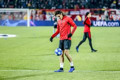 Edinson Cavani warming up on a UEFA Champions League match royalty free stock photos