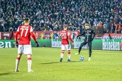 Neymar playing on a UEFA Champions League match stock image
