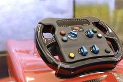 Belgrade - SERBIA, December 2018 - Steering wheel of f1 Evotek simulator in Belgrade, Serbia stock photo