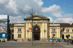 BELGRADE, SERBIA - Front facade of the Belgrade-Glavna railway station building. BELGRADE, SERBIA - MAY 14, 2015: Front facade of the Belgrade-Glavna railway royalty free stock images