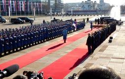 belgrade serbia Januari 17th 2019 President av rysk federation, Vladimir Putin i officiellt besök till Belgrade, Serbien fotografering för bildbyråer