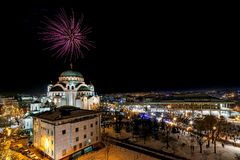 Orthodox New years eve celebration with fireworks over the Church of Saint Sava at midnight i stock photo