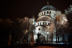 Saint Sava Cathedral in Belgrade by night. Belgrade, Serbia -January 26, 2017: Saint Sava Cathedral illuminated at night in the center of Belgrade, Serbia Royalty Free Stock Photos