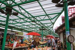 Belgrade, Serbia - 19 July, 2016: Different people at a farmers market Zeleni Venac in Belgrade, Serbia Stock Images