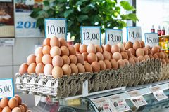 Fresh eggs at the Serbian Zeleni Venac farmer's market. Belgrade, Serbia - 19 July, 2016: fresh eggs in the cortical tray the Serbian Zeleni Venac farmer's Royalty Free Stock Image