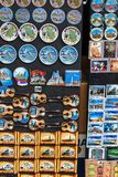 Belgrade, Serbia - 19 July, 2016: Fridge magnet souvenirs representing Serbian national culture and costumes. Sold on Mihailove Kez street of Belgrade royalty free stock photography