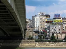 Under the bridge. Belgrade, Serbia. July 31, 2018. View on the old Belgrade city,from New Belgrade shore, under the bridge on the Sava river stock photo