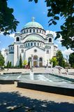 BELGRADE, SERBIA - JUNE 29, 2017: Church of Saint Sava in Belgra. De, Serbia, one of the largest Orthodox churches in the world on a sunny day Royalty Free Stock Images