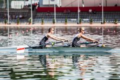 Denmark athletes on a World Rowing Cup Competition rowing royalty free stock photo