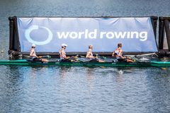 German athletes on a World Rowing Cup Competition rowing royalty free stock photos