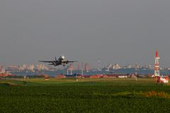Belgrade, Serbia -June 5, 2019: Plane taking off from the local airport stock images