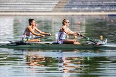 Serbian athletes on a World Rowing Cup Competition rowing royalty free stock images
