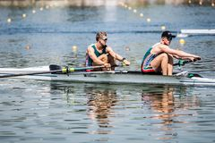 South African athletes on a World Rowing Cup Competition rowing stock images