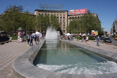 Belgrade, Serbia: kwiecień 16 2017 - Nikola Pasic kwadrat z zabytkiem i fontanną jest jeden środkowi rynki i miastowy Obrazy Stock