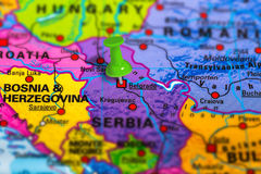 Belgrade Serbia map. Belgrade in Serbia pinned on colorful political map of Europe. Geopolitical school atlas. Tilt shift effect Stock Photography
