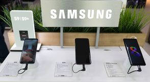 New Samsung demo S9, S9+ and NOTE 8 exposed in electronic store. Belgrade, Serbia - March 09, 2018: New Smartphones, Samsung Galaxy S9, S9+ and Note 8 with S Pen Royalty Free Stock Photo