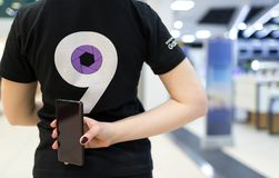 Samsung promoting new smartphone, Galaxy S9. Belgrade, Serbia - March 13, 2018: Newly launched Samsung Galaxy S9 Smartphone promoting by promo team Stock Photography