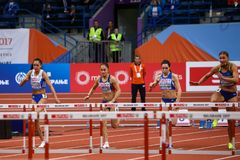 Athletics - Women 60m Hurdles - Milica Emini Royalty Free Stock Photos