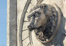 Old statue and a fountain of a lion royalty free stock images