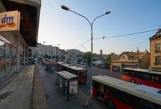 Bus terminus in Belgrade. Belgrade, Serbia - May 03, 2018: Bus terminus on Jug Bogdanova street in the morning Royalty Free Stock Image