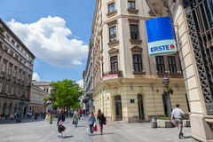 BELGRADE, SERBIA - MAY 26, 2017: Logo of Erste Bank on its Serbian Headquarters on Kneza Mihailova Street in Belgrade Stock Images