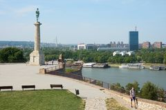 View on Sava river and Belgrade. Belgrade, Serbia - May 03, 2018: Morning view on Sava river and Belgrade from Belgrade fortress. Pobednik The Victor monument is royalty free stock images