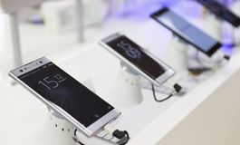 New Sony Xperia XA2 Ultra, smartphone on retail display in elect. Belgrade, Serbia - May 05, 2018: New Sony Xperia XA2 Ultra, Smartphone is displayed with time Stock Photography