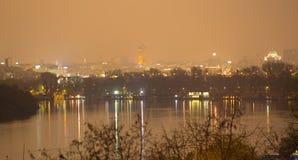 Belgrade Serbia by night. Danube river with Sain Sava temple at night Royalty Free Stock Photos