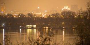 Belgrade Serbia by night. Danube river with Sain Sava temple at night Stock Image