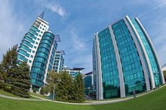 Office buildings ensemble located in a new business center on Be stock images