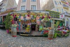 Restaurant on the old street Skadarlija, Belgrade, Serbia Royalty Free Stock Photography