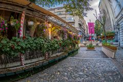 Restaurant on the old street Skadarlija, Belgrade, Serbia Royalty Free Stock Photos
